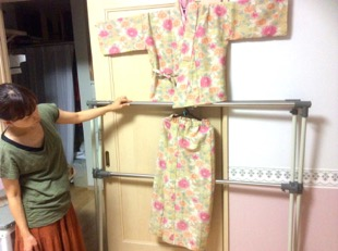 着物の生地で作った作務衣。